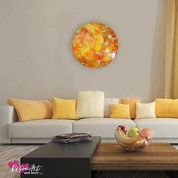 gold yellow orange round wall art in resin