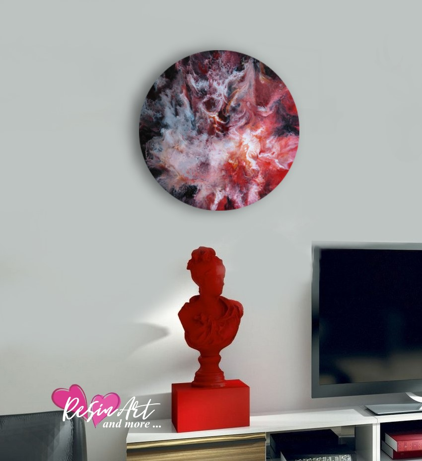red resin art on wall