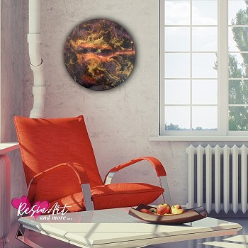 black red gold wall art round board